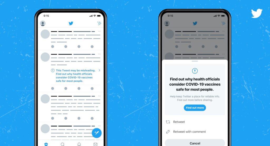 Un nouveau message d'alerte vous indiquera quand un tweet sur le vaccin contient une fausse information.